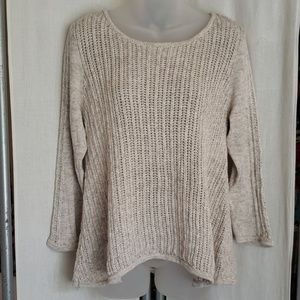 LUCKY BRAND BOHO OPEN KNIT OATMEAL SWEATER M